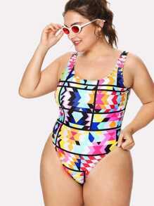 Geometric Pattern Colorblock Swimsuit