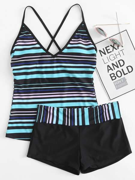 Striped Criss Cross Bikini Swimsuit