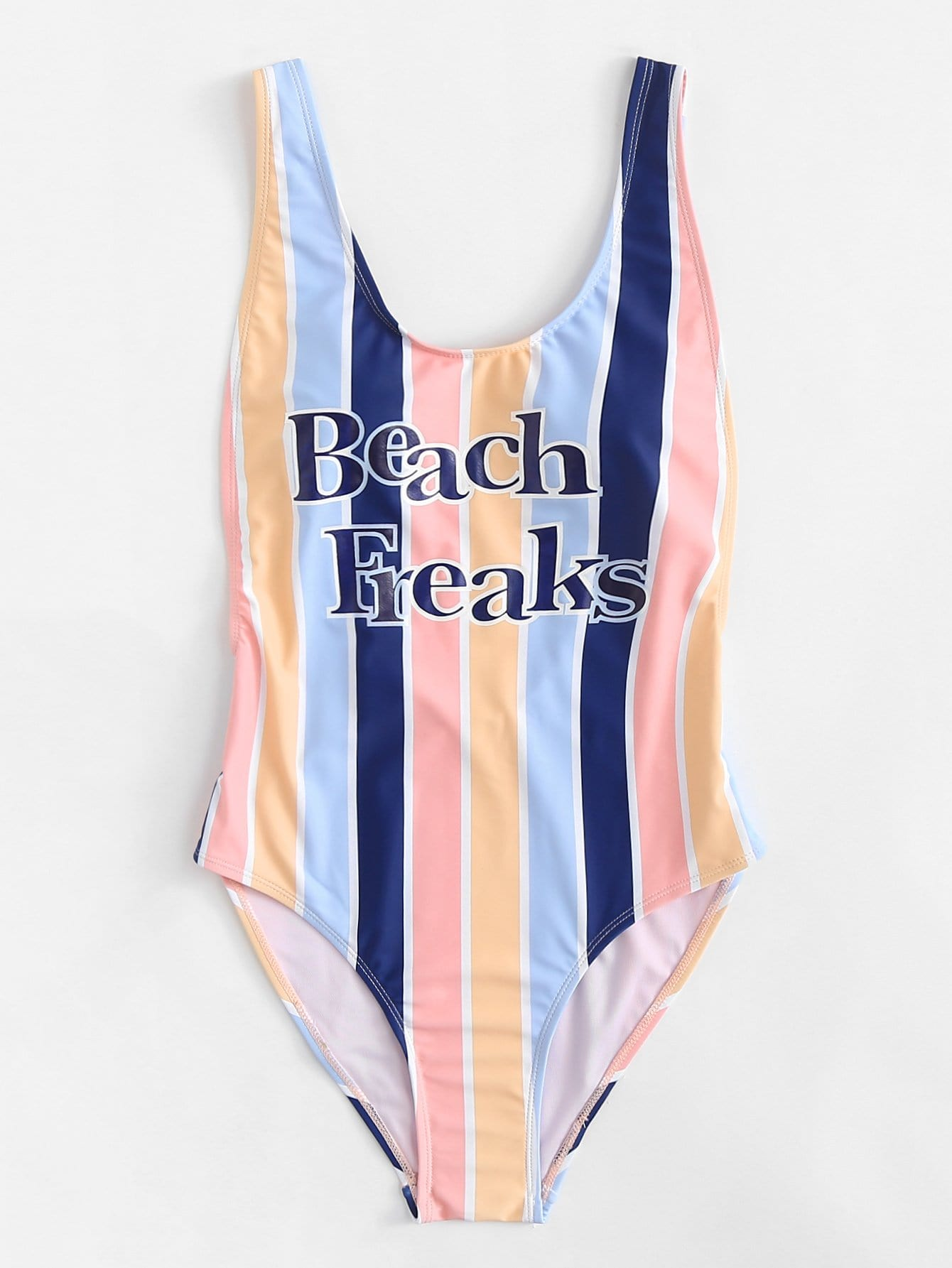 Letter Print Striped Swimsuit lobster print striped swimsuit