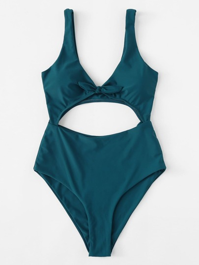 Knot Front Cut Out Swimsuit