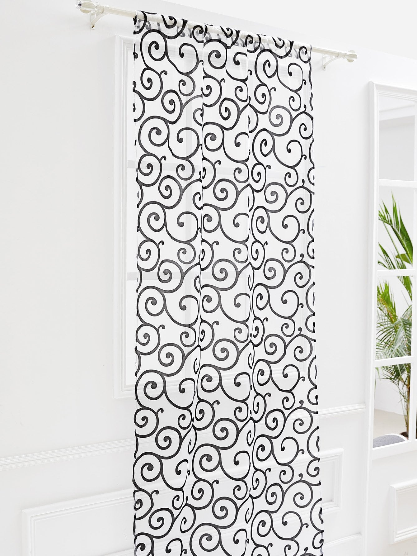Metallic Scroll Print Mesh Curtain 1pc