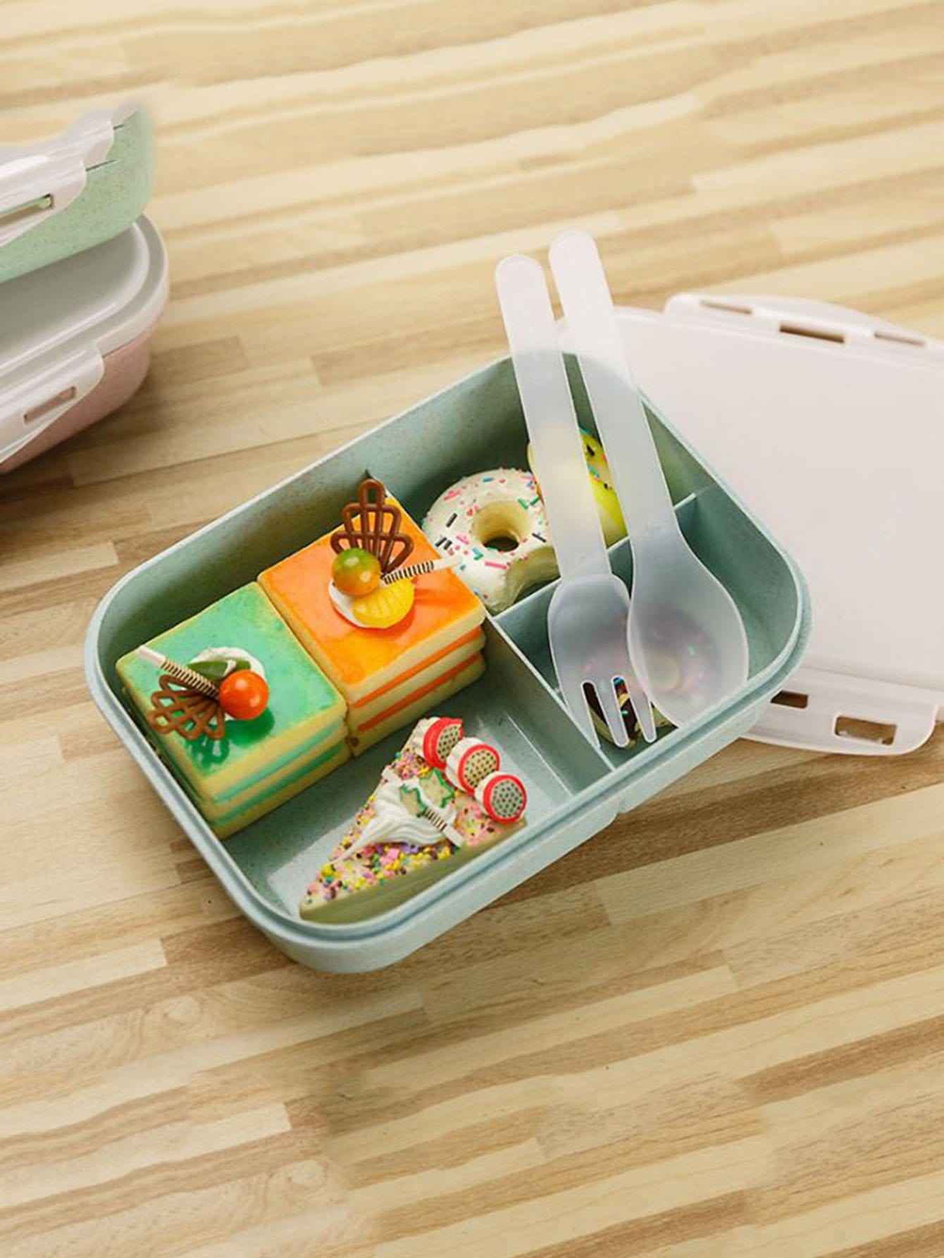 Divided Lunch Box With Spoon & Fork