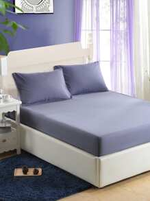 Simple Solid Full Covered Bed Cover ROMWE
