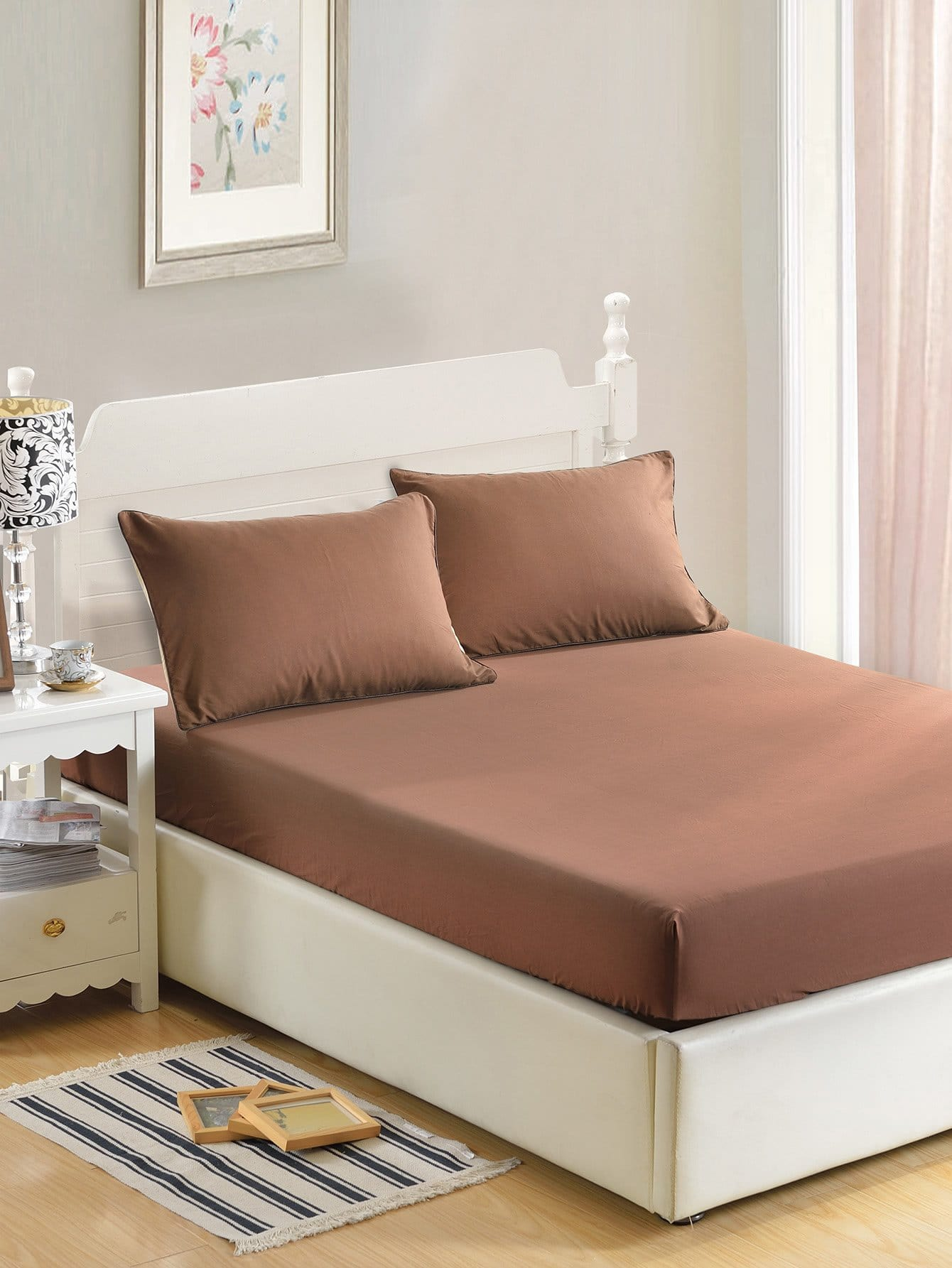 Solid Color Fitted Sheet простыни candide простыня ivory cotton fitted sheet 130г м2 40x80 см
