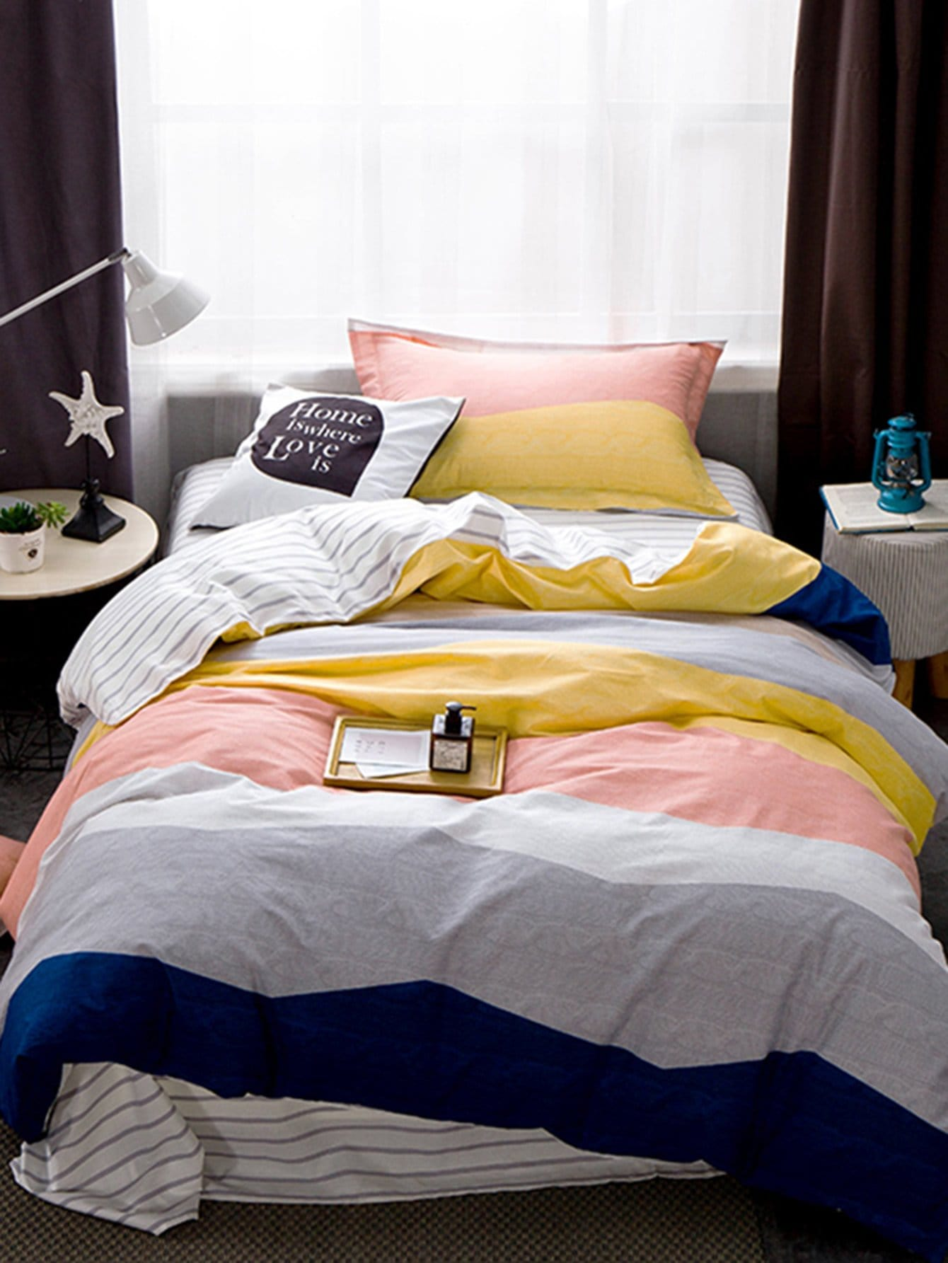 Color Block Striped Bedding Set vertical striped bedding set