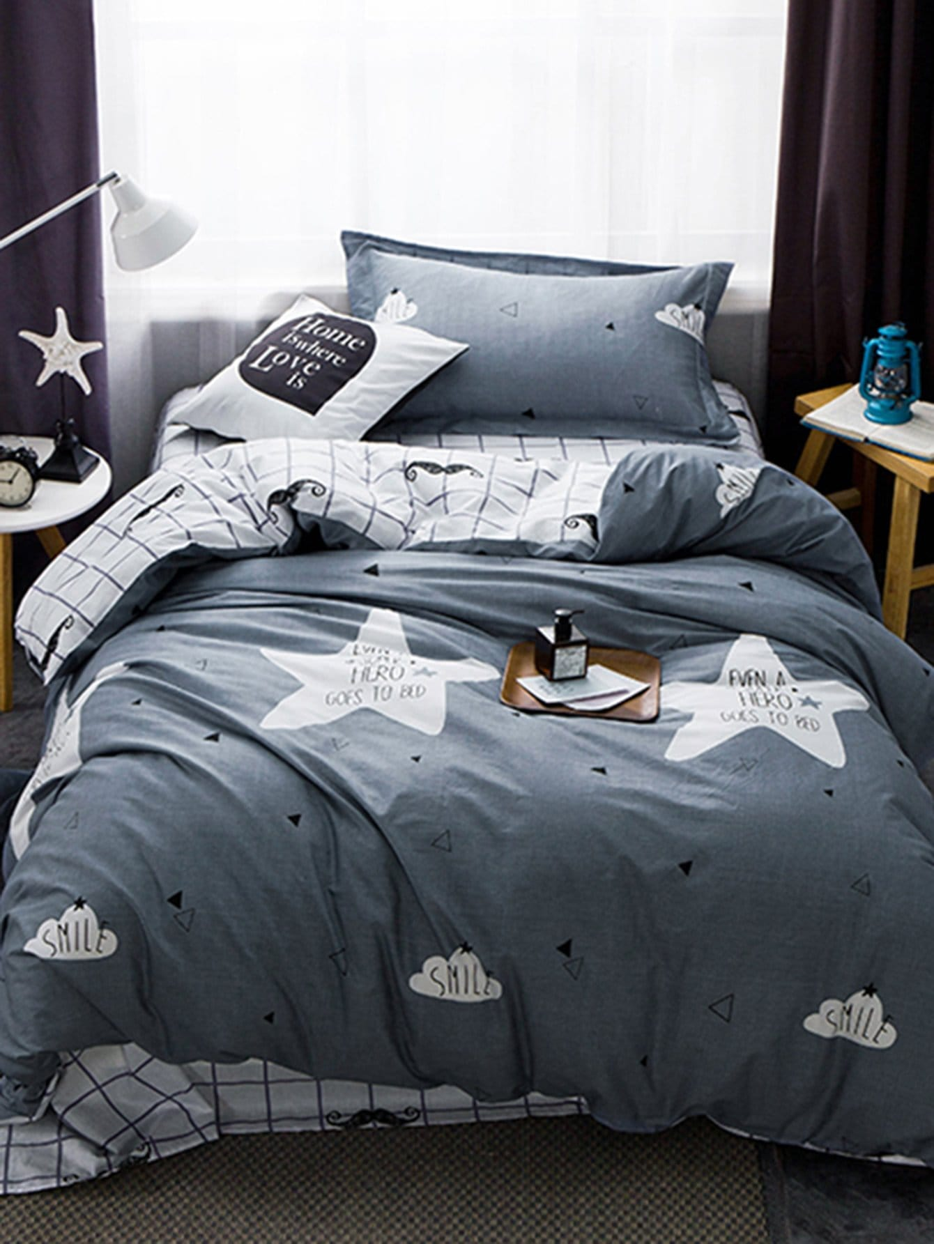Grid & Letter Print Bedding Set letter print two tone bedding set