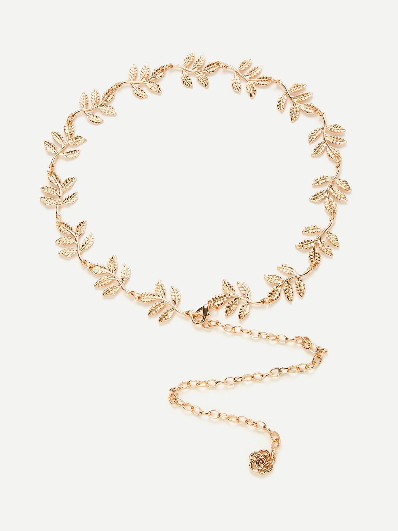 Leaf Detail Chain Belt v notch pearl leaf chain detail fluted sleeve dress