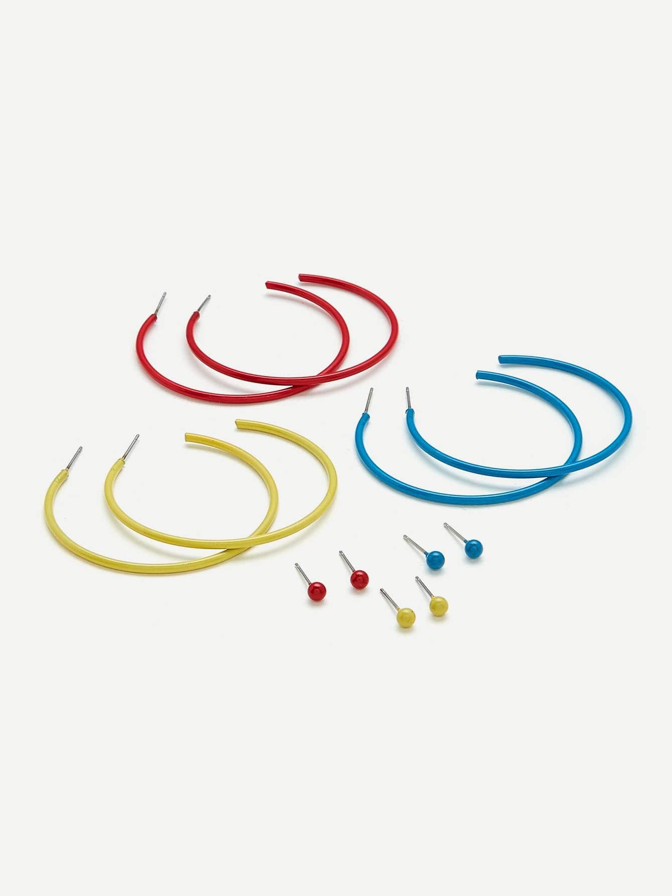 Oversized Hoop Earrings & Stud Earrings 6pairs glitter hoop stud earrings