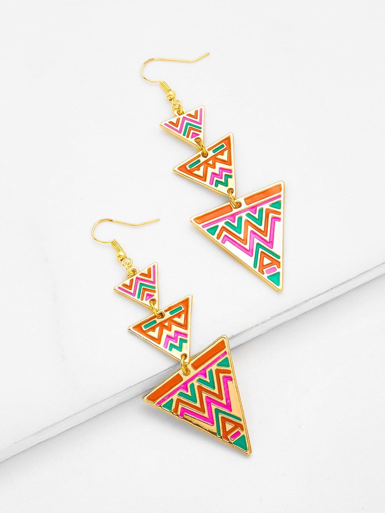 Layered Triangle Dangle Earrings