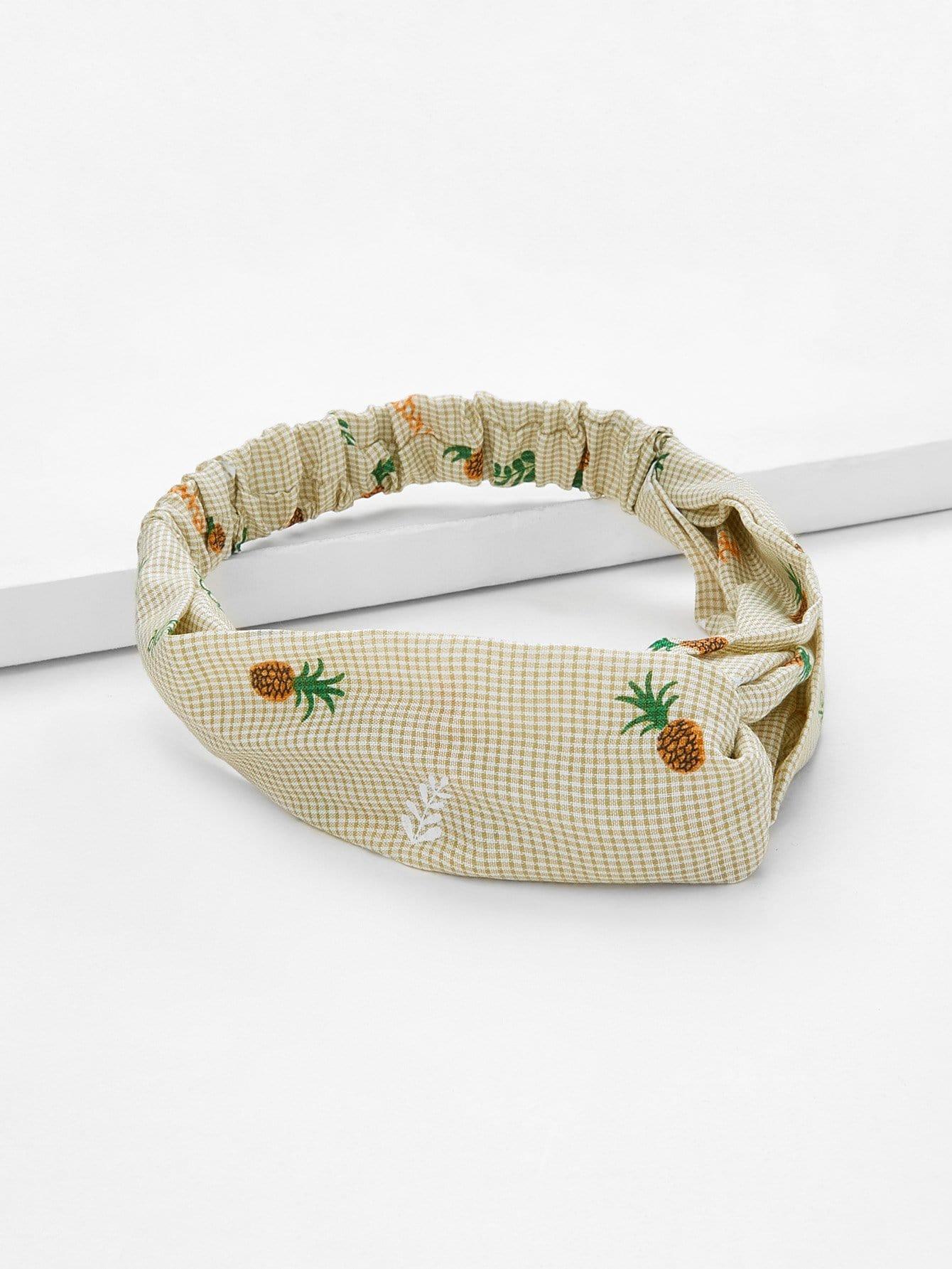 Pineapple Print Twist Headband letter print twist headband