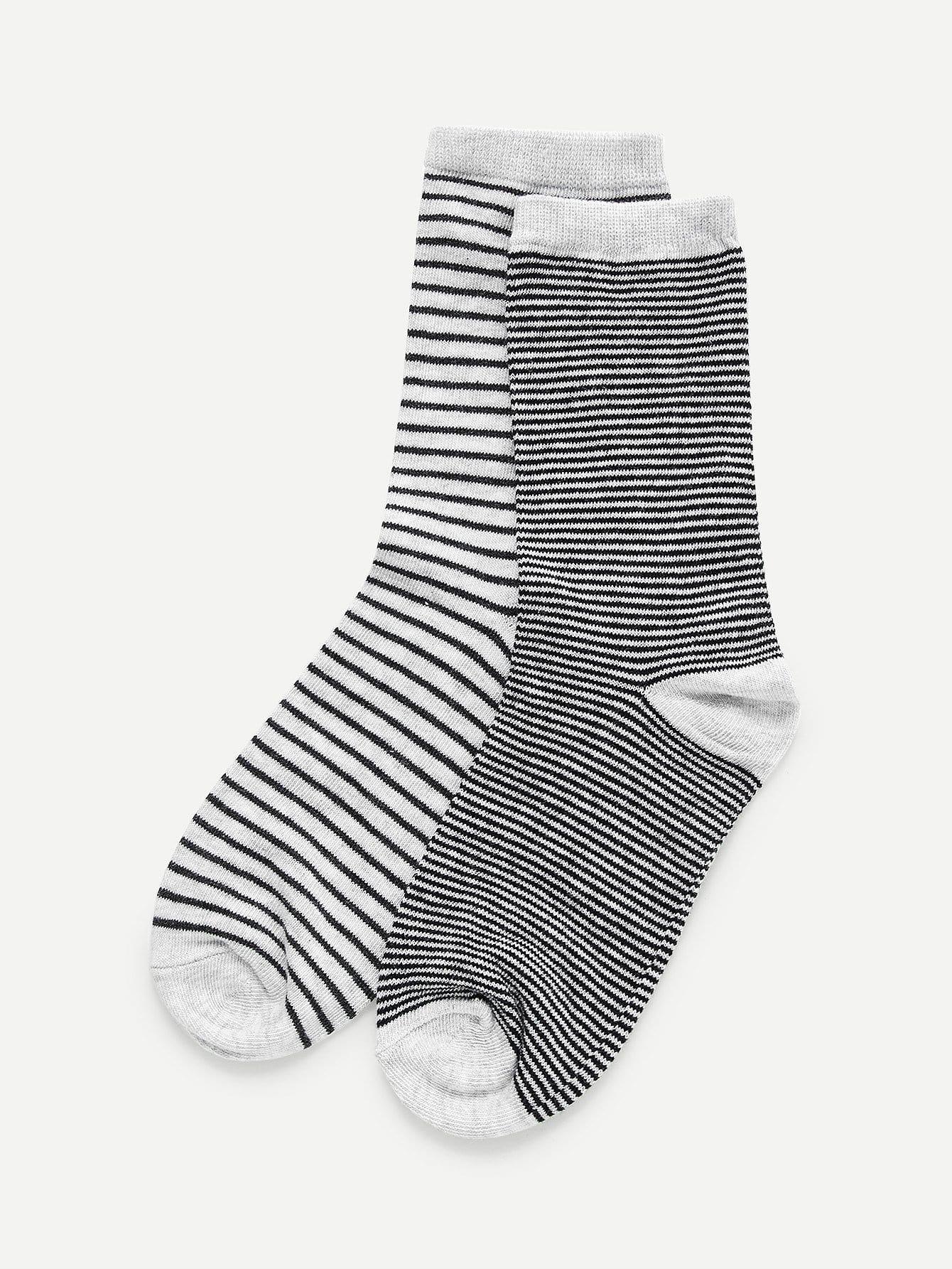 Striped Calf Length Socks 2pairs ombre circle calf length socks