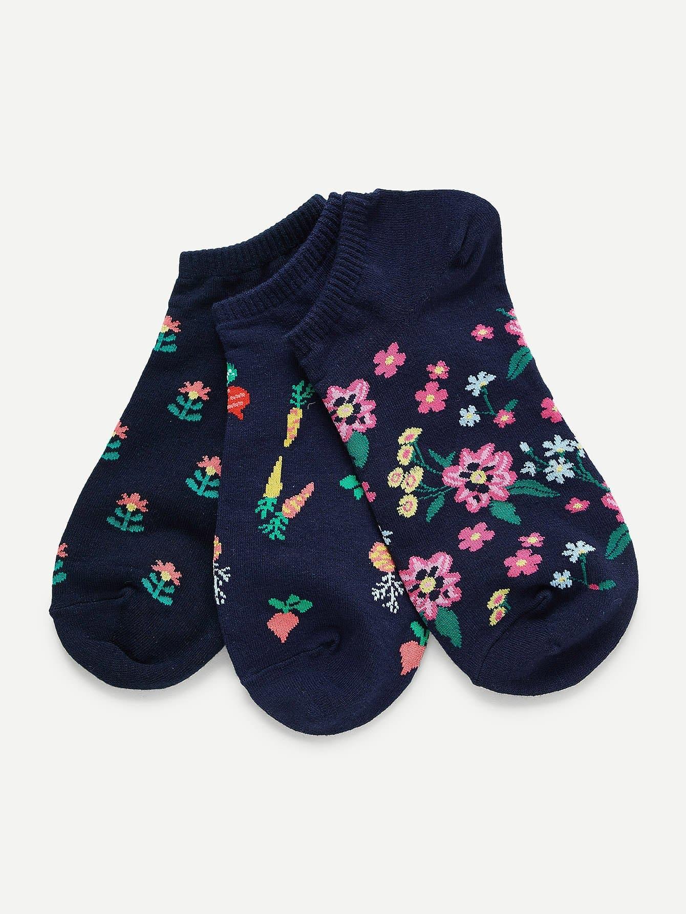 Calico Print Invisible Socks 3pairs animal embroidery invisible socks 3pairs