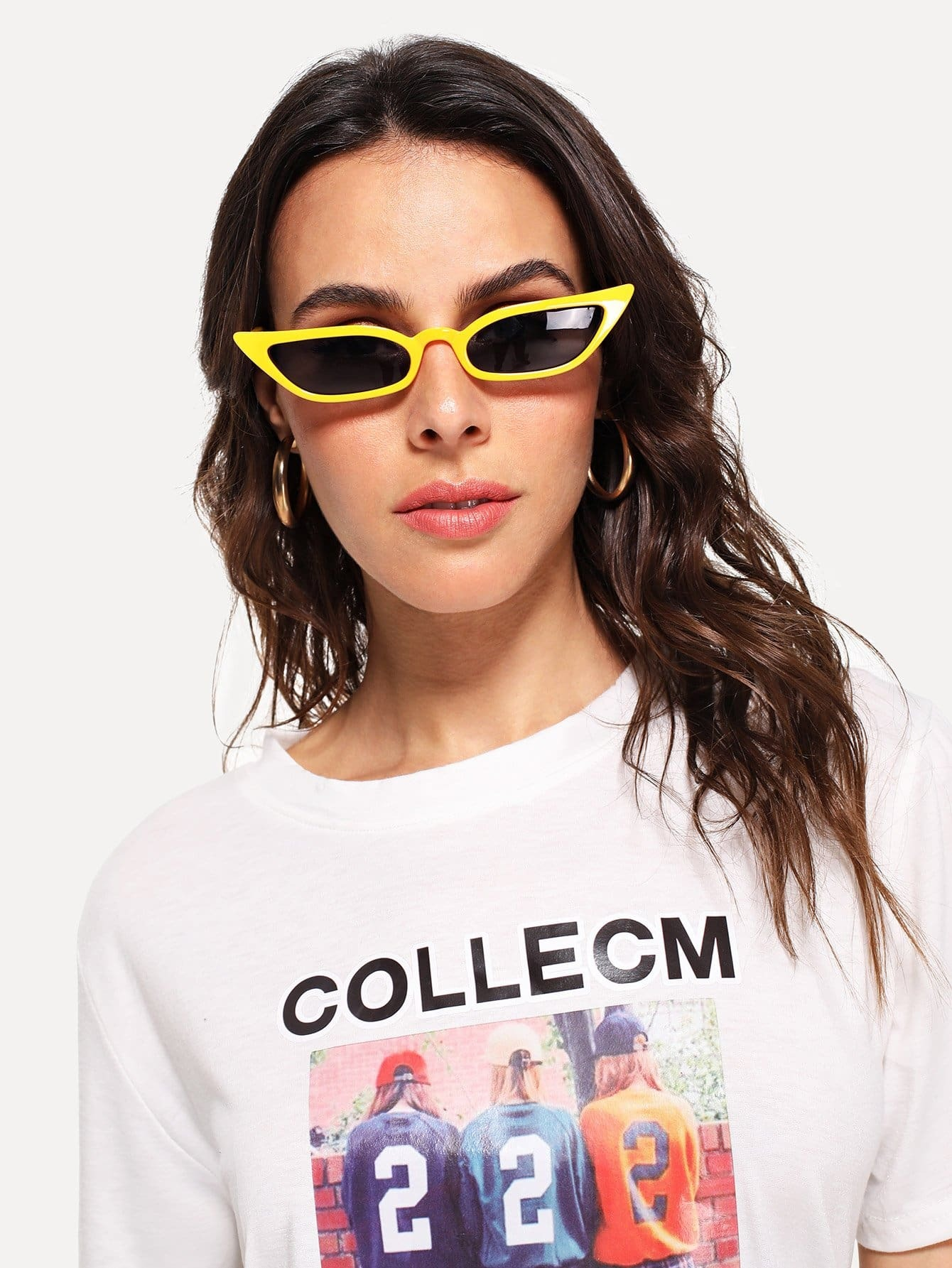 Two Tone Cat Eye Sunglasses drop crotch loose two tone pants