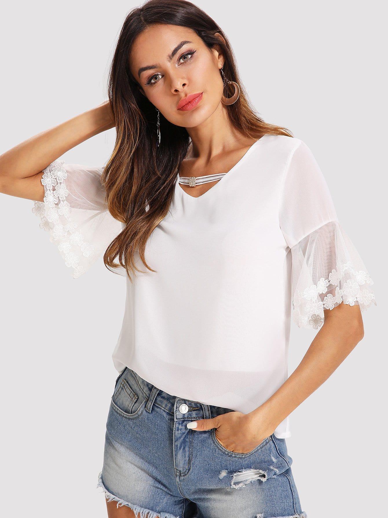 Lace Crochet Mesh Contrast Sleeve Blouse contrast lace wrap blouse
