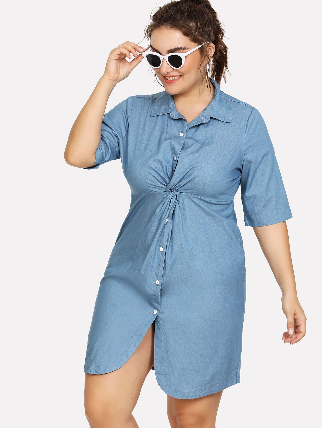 Plus Twist Front Denim Shirt Dress