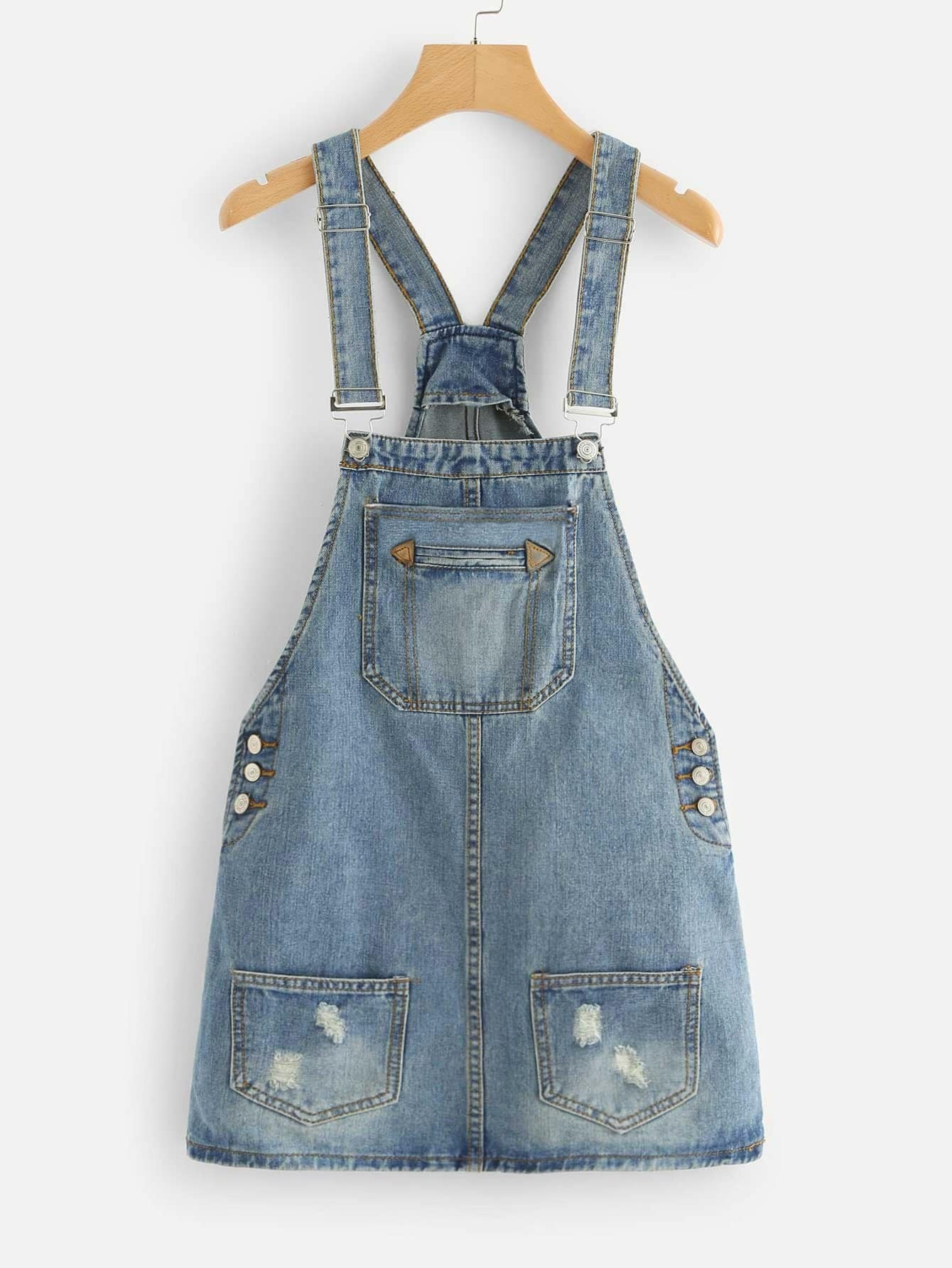 Bleach Wash Pocket Front Ripped Denim Overalls