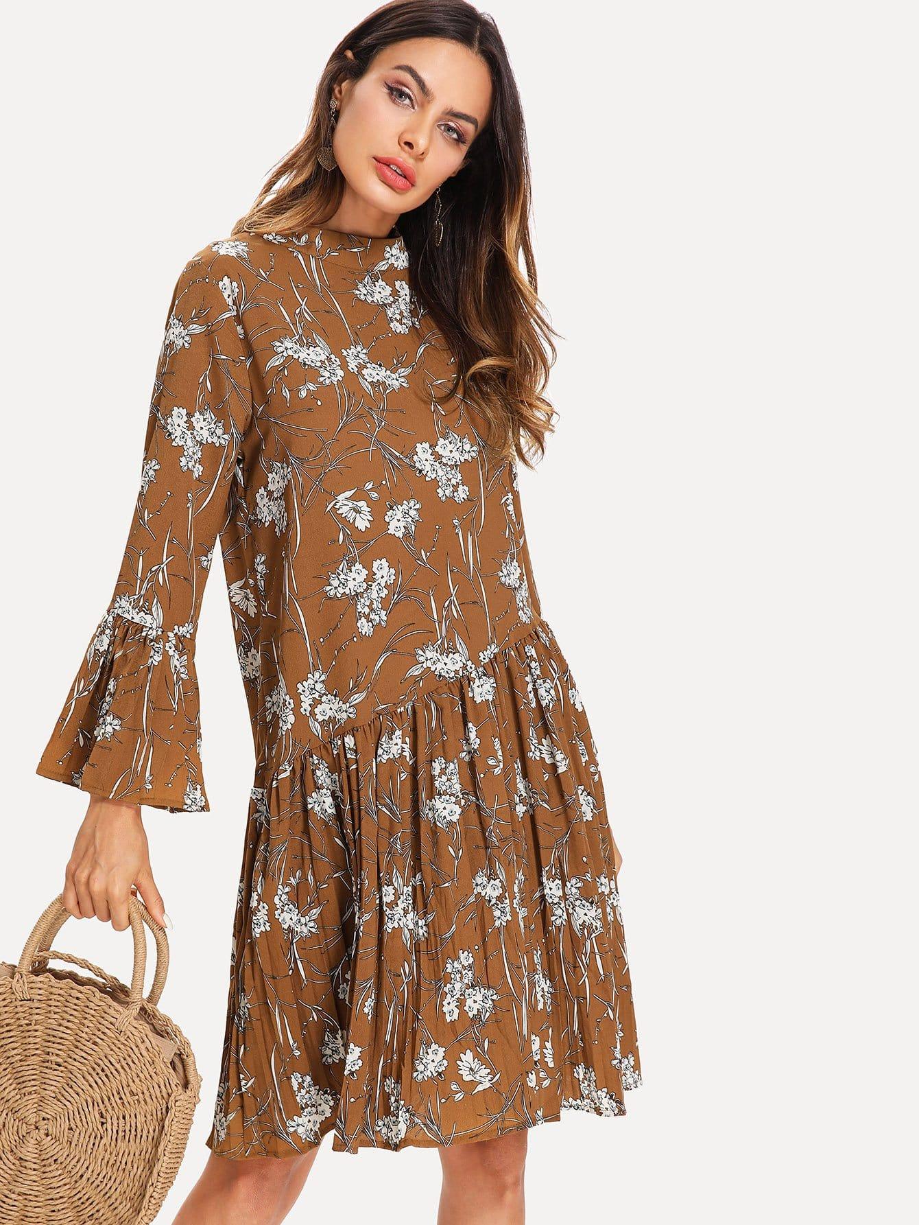 Botanical Print Flounce Sleeve Ruffle Hem Dress contrast binding ruffle hem botanical shorts