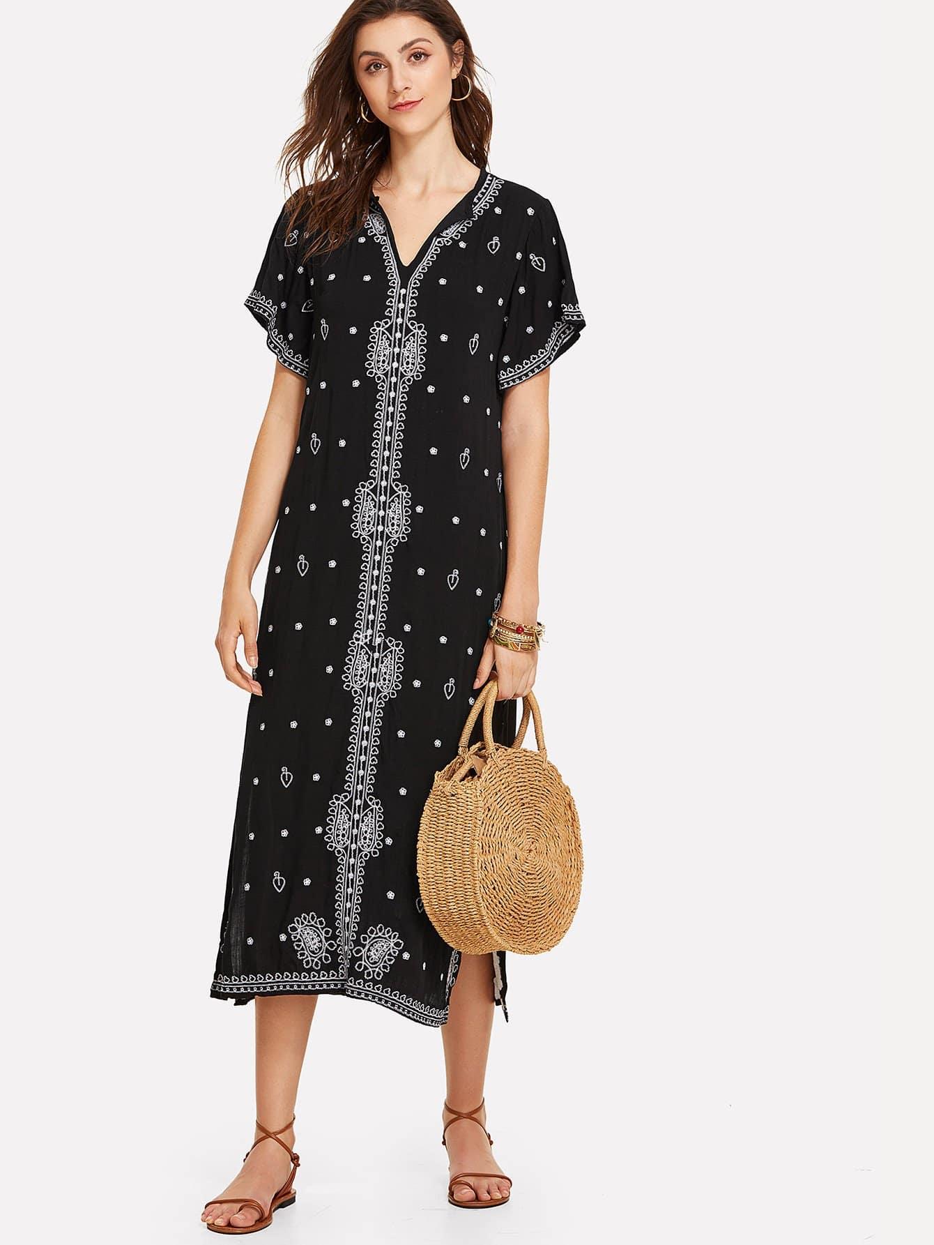 Split Side Graphic Embroidered Longline Dress split side longline blazer