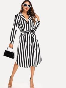 Stripe Contrast Tie Waist Shirt Dress