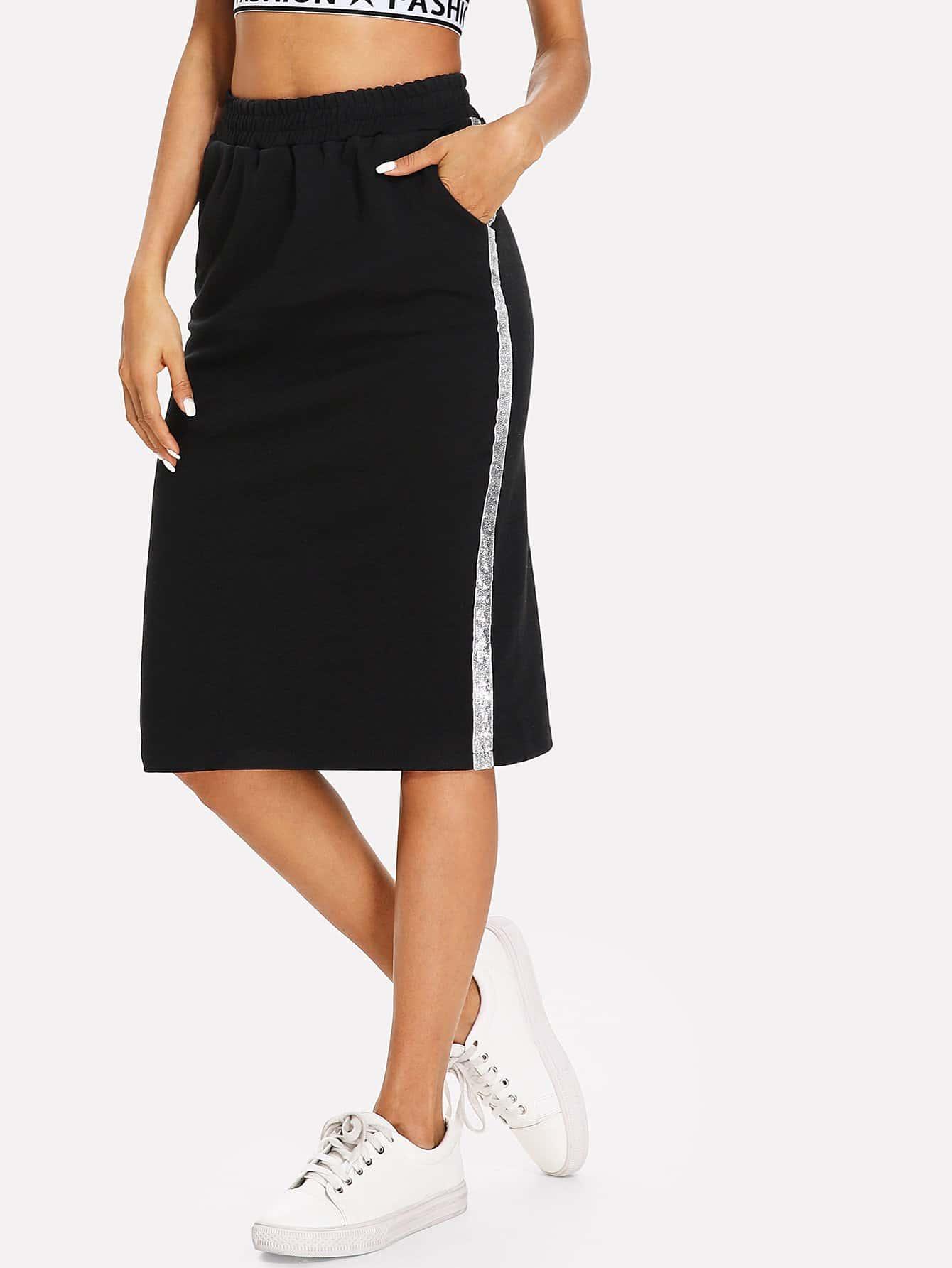 Split Back Elastic Waist Skirt split back plaid skirt