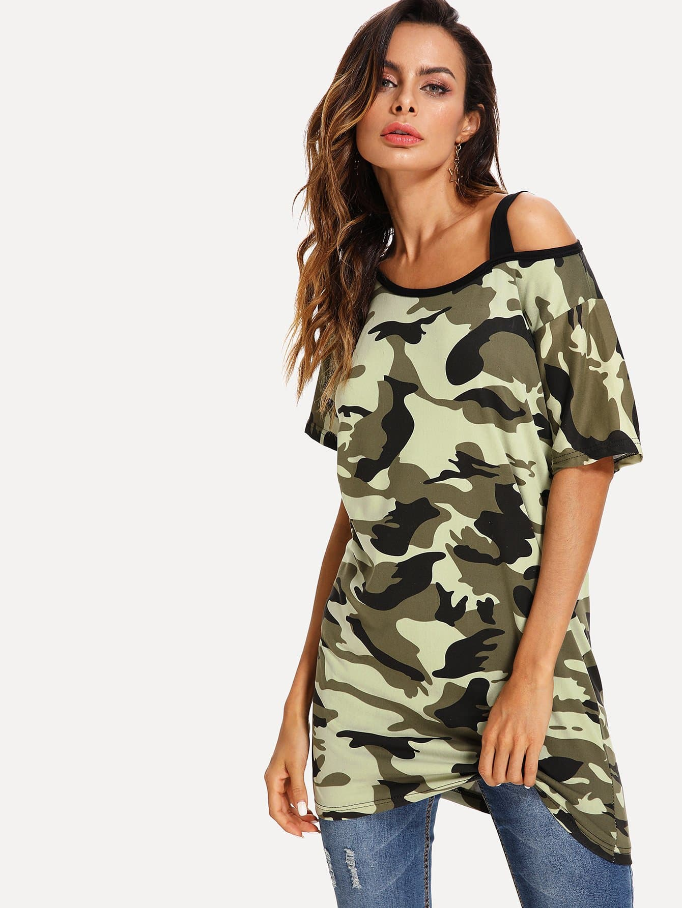 Open Shoulder Camouflage Longline Tee open shoulder figure print longline tee