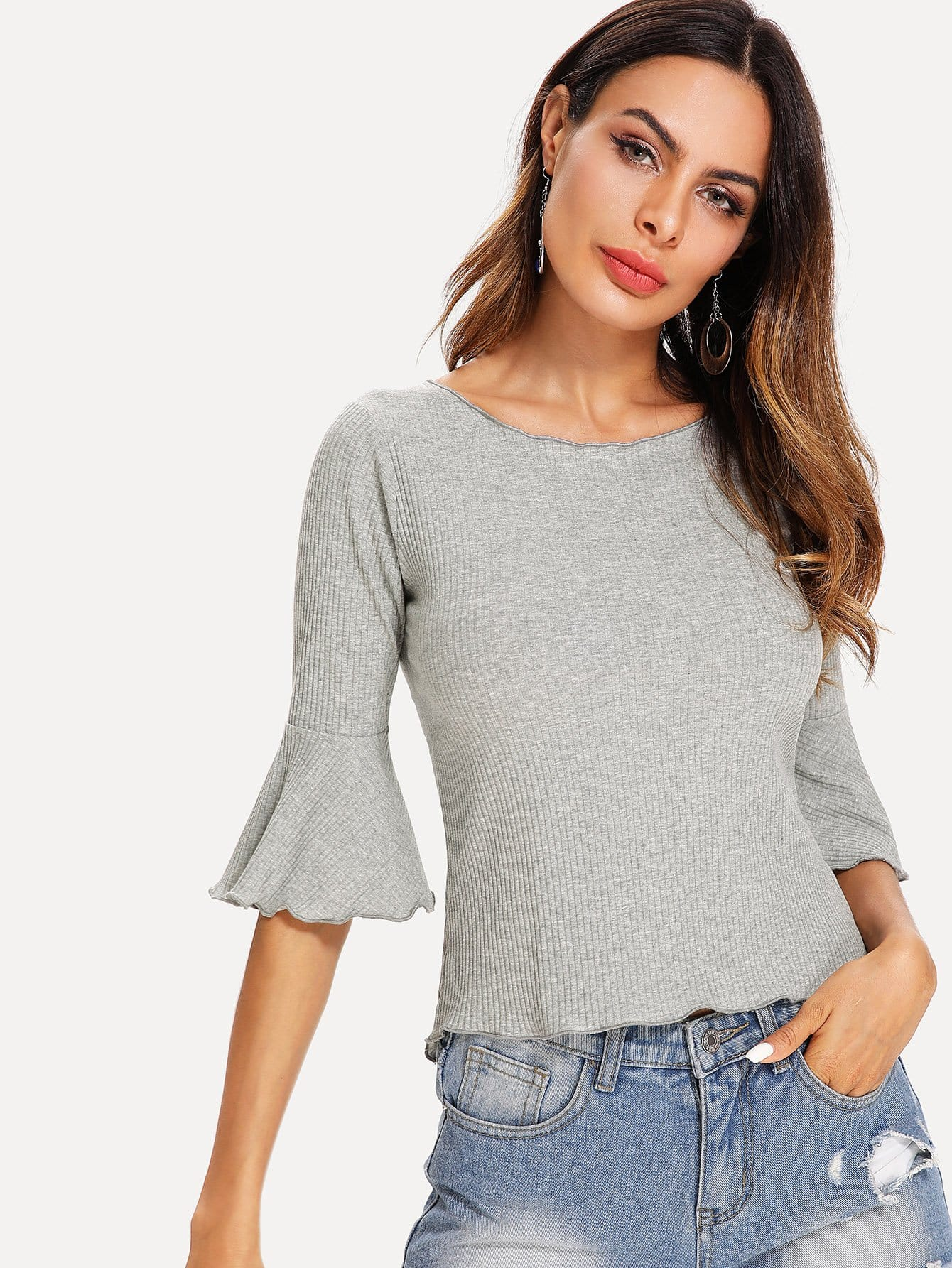 Flounce Sleeve Knit Ribbed Top flounce shoulder ribbed knit bodysuit