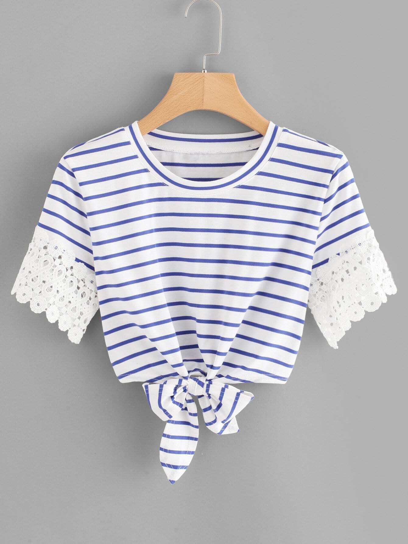 Lace Crochet Contrast Knot Front Stripe Tee lace crochet contrast off shoulder stripe blouse