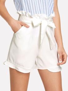 Belted Ruffle Shorts