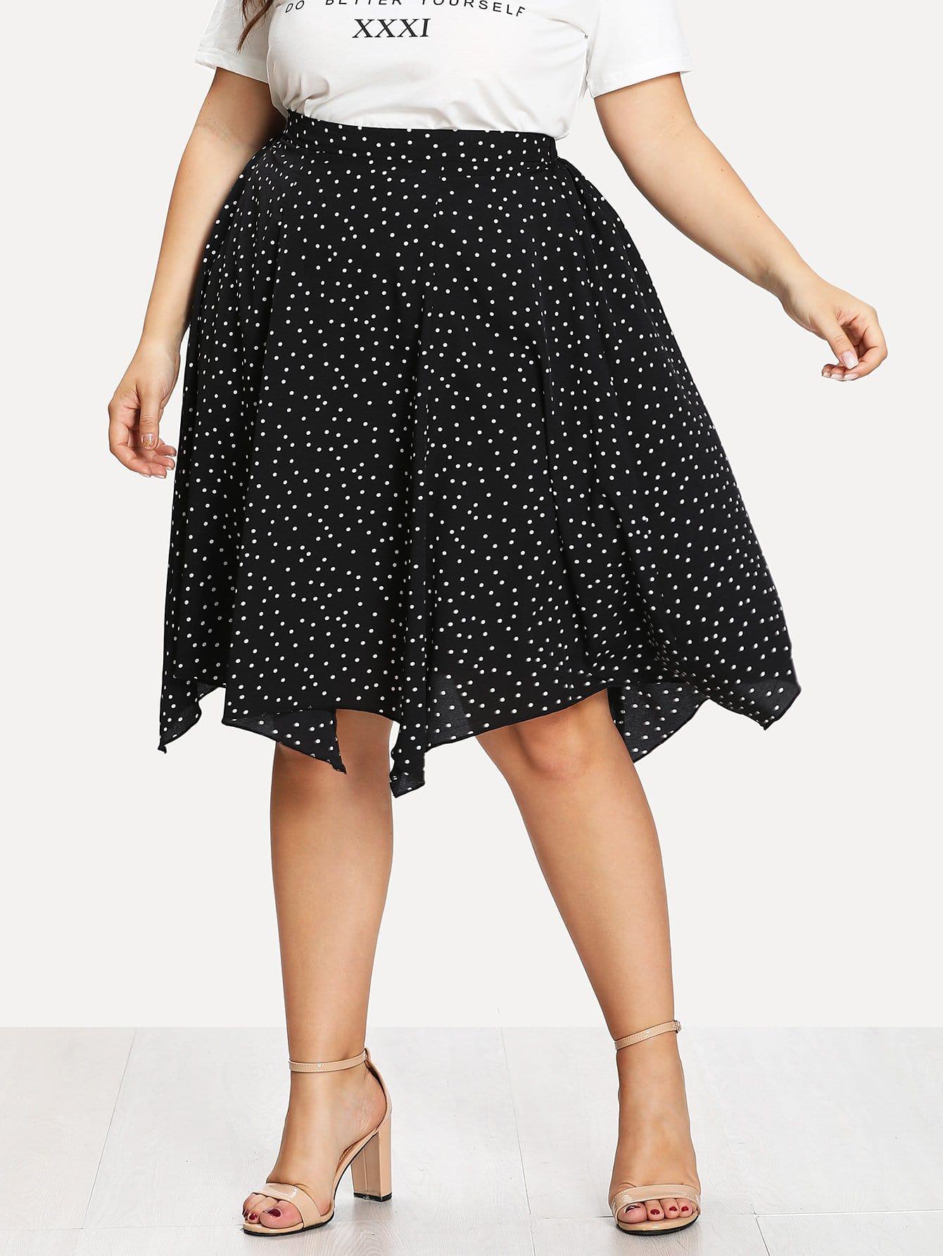 Plus Polka Dot Print Hanky Hem Skirt trendy style high waisted polka dot print high low hem women s skirt