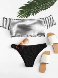 Lettuce Edge Bardot Top With Stripe Bikini Set