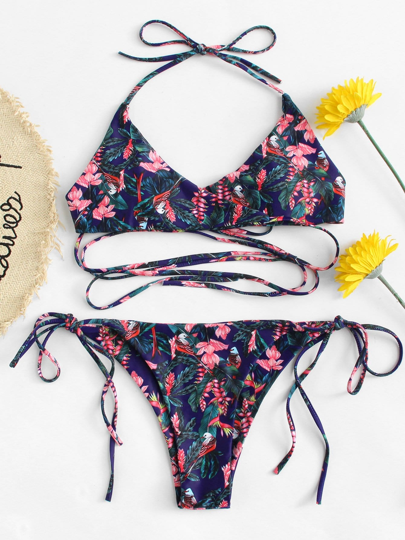 Tropical Print Cross Wrap Bikini Set tropical floral wrap bikini set