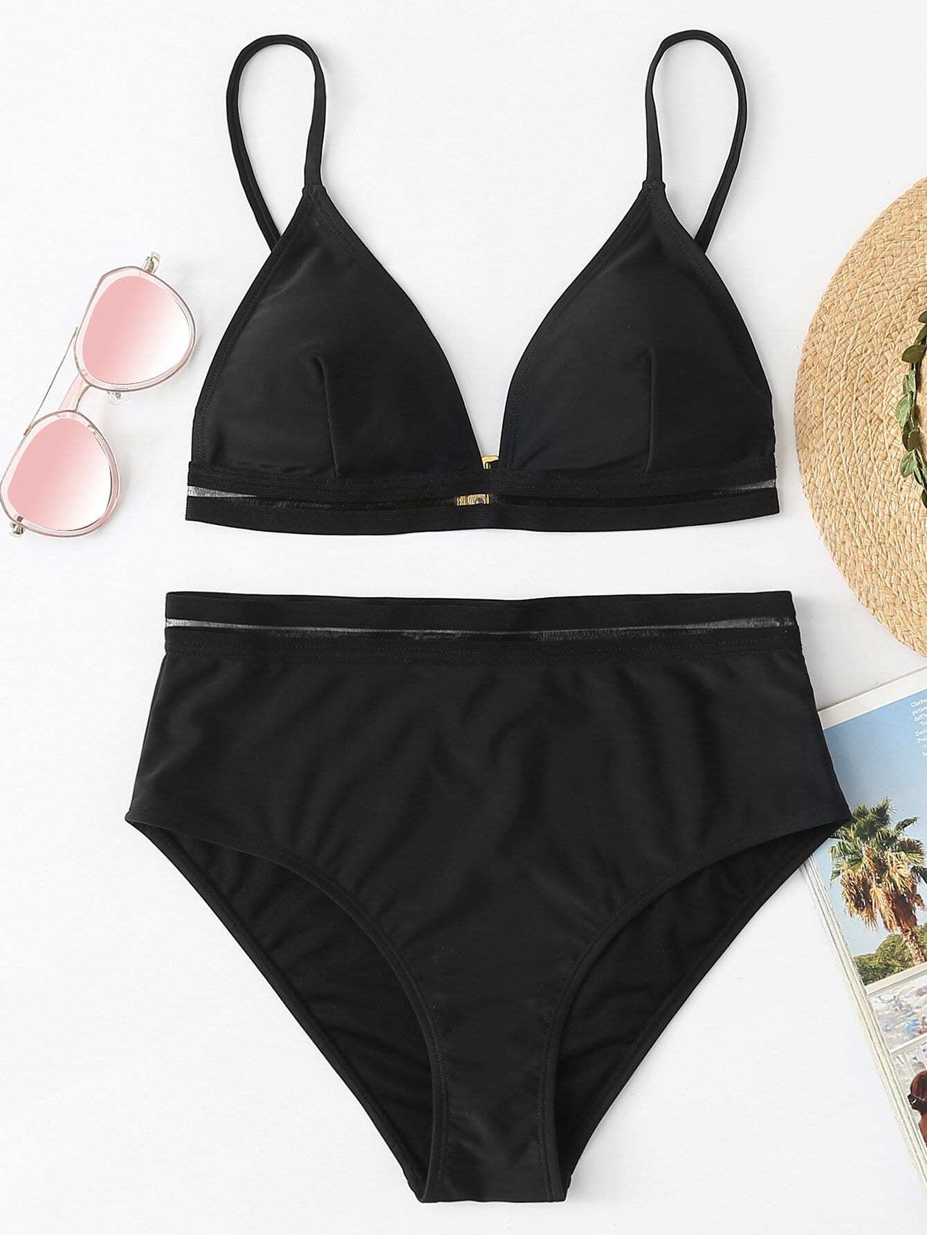 Mesh Insert Triangle Bikini Set eyelet insert botanical print bikini set