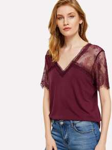 Solid T-shirt With Floral Lace Shoulder