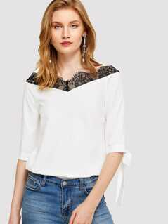Bow Tie Sleeve Lace Trim Bardot Top