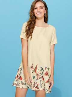 Short Sleeve Botanical Tunic Dress
