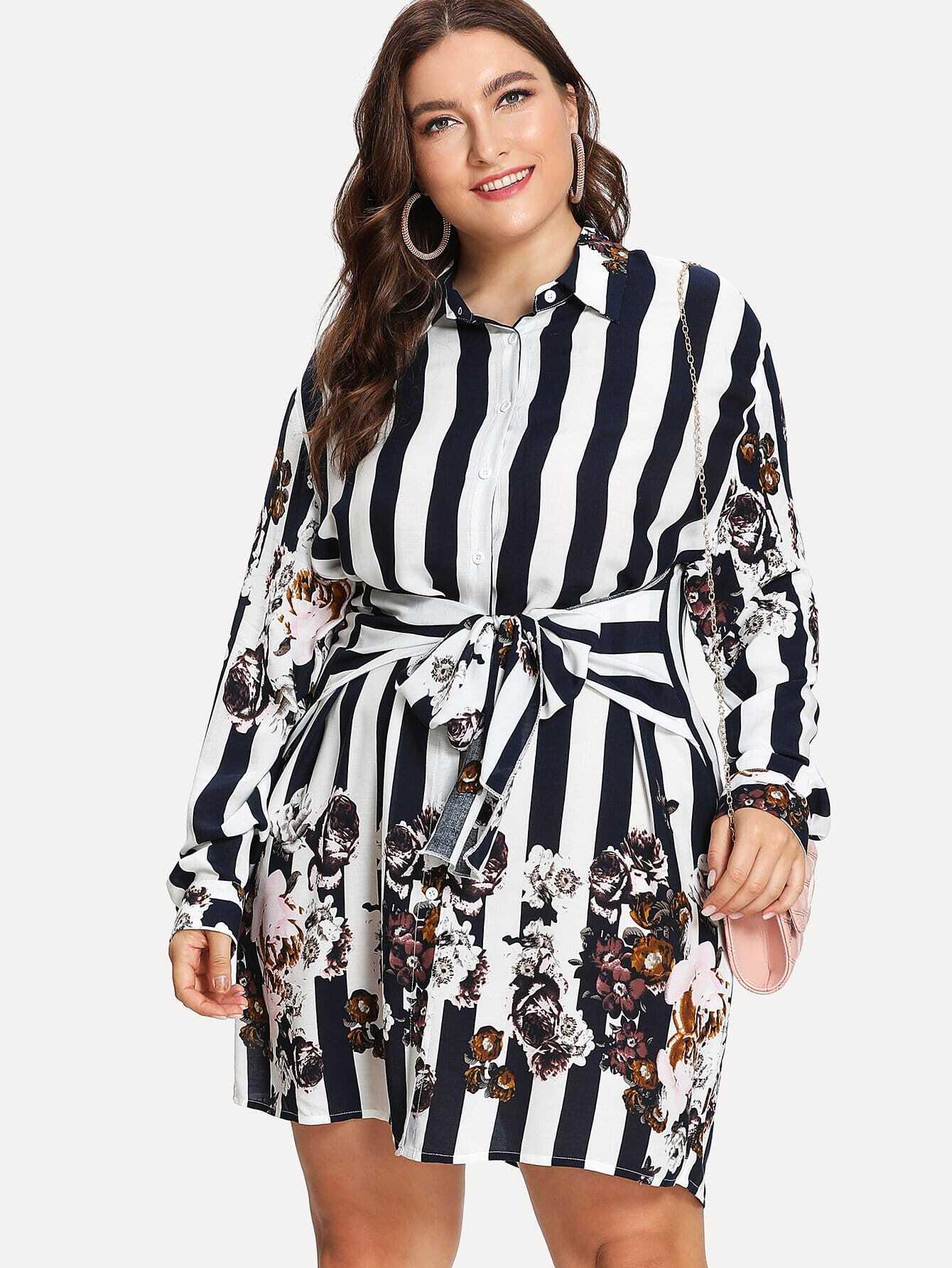 Купить Платье рубашка в полоску и с цветами, Franziska, SheIn