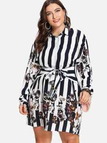 Plus Stripe & Flower Print Shirt Dress
