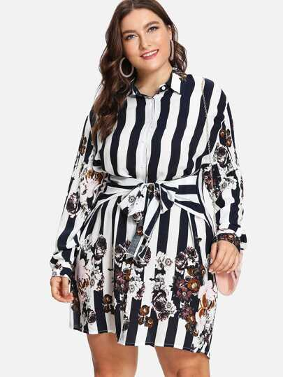 Stripe & Flower Print Shirt Dress