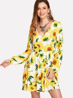 Tassel Tie Sunflower Print Smock Dress