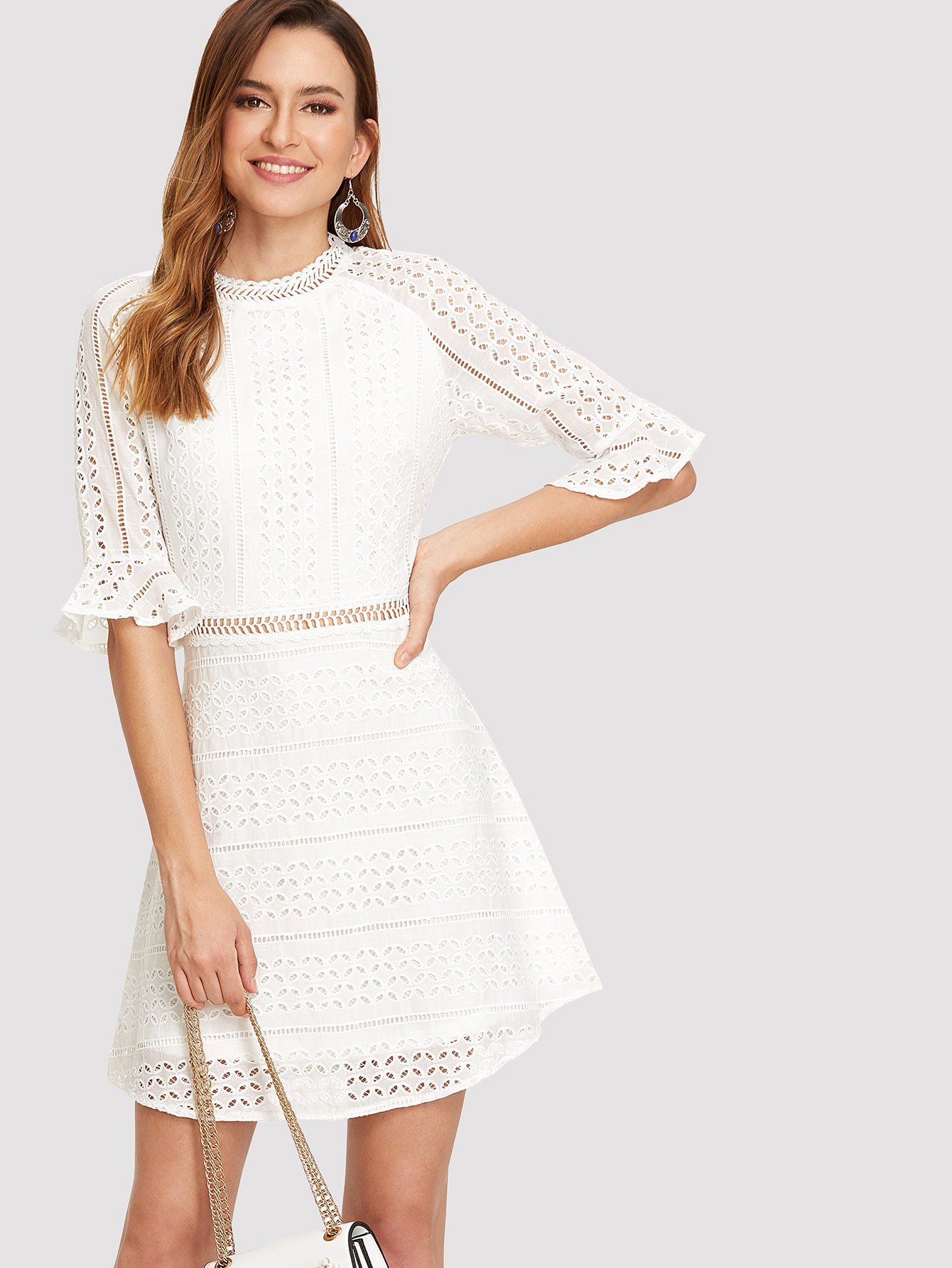 Ruffle Cuff Guipure Lace Overlay Dress guipure lace overlay fit and flare dress