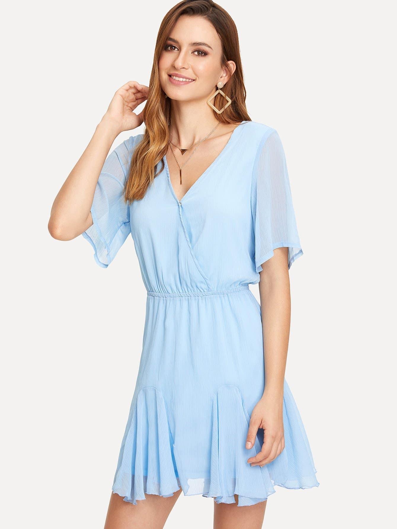 Overlap Front Flounce Hem Dress overlap asymmetrical hem bandeau dress