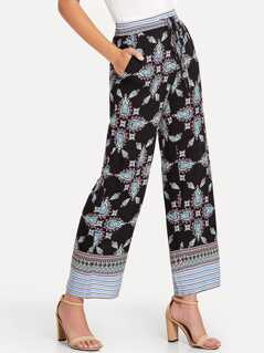 Ornate Print Pocket Side Wide Leg Pants