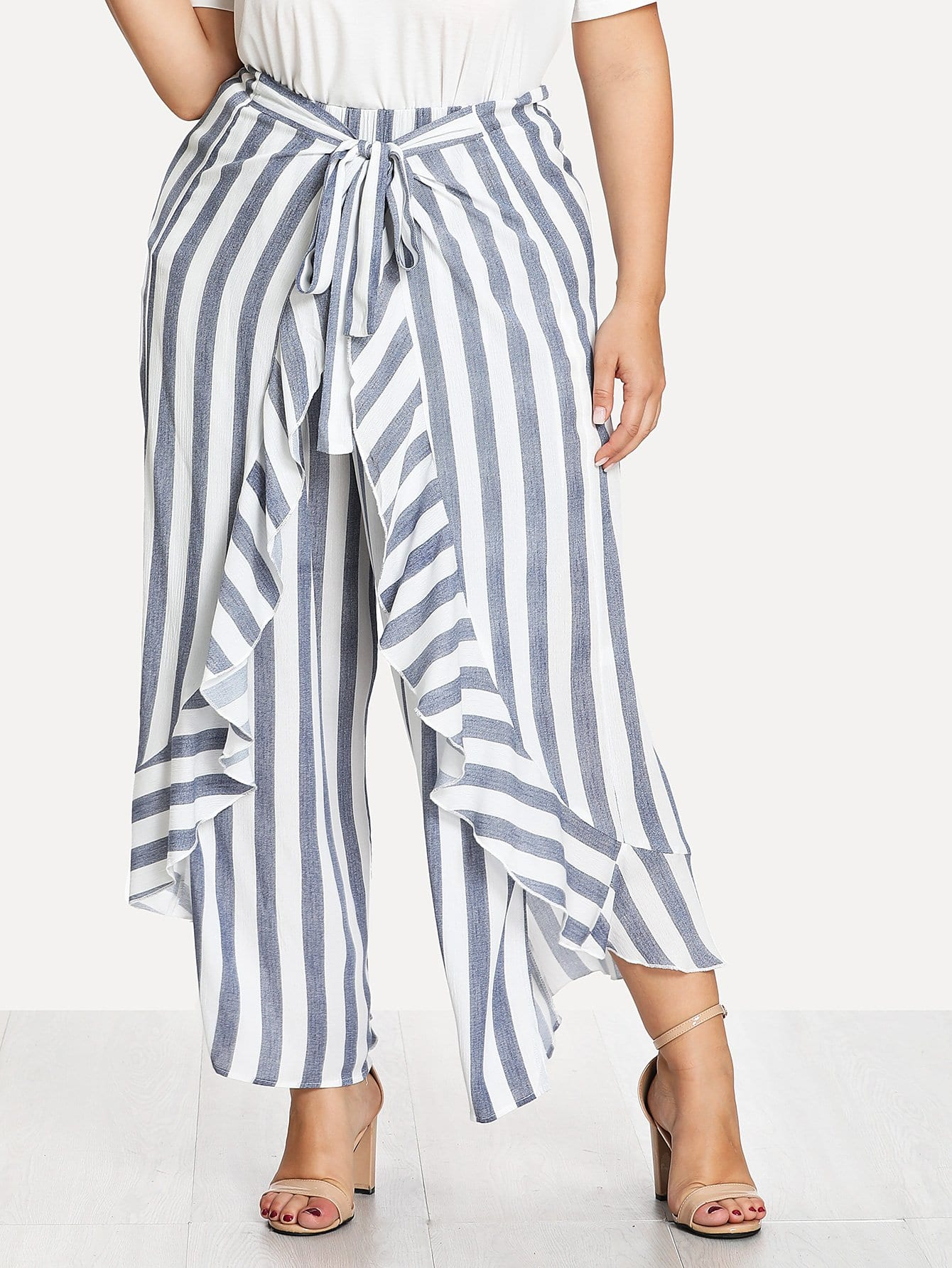 Self Tie Ruffle Trim Striped Palazzo Pants striped ruffled waist self tie pants
