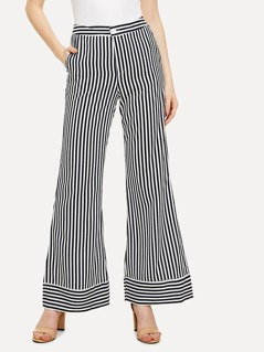 Mixed Striped Wide Leg Pants