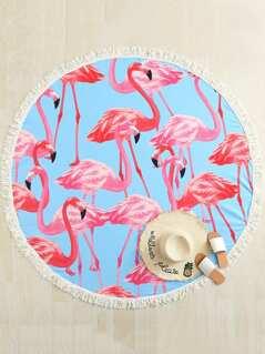 Flamingo Print Fringe Trim Beach Blanket