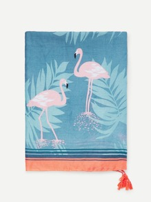 Flamingos Print Tassel Decorated Scarf