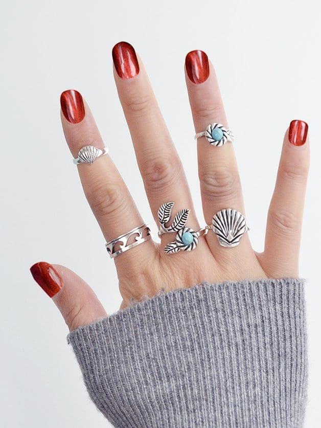 Retro Turquoise Ring Set retro fake turquoise multilayered toe ring anklet