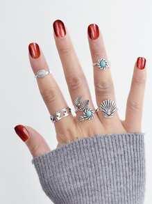 Retro Turquoise Ring Set
