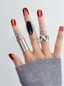 Dropping Gemstone Ring Set