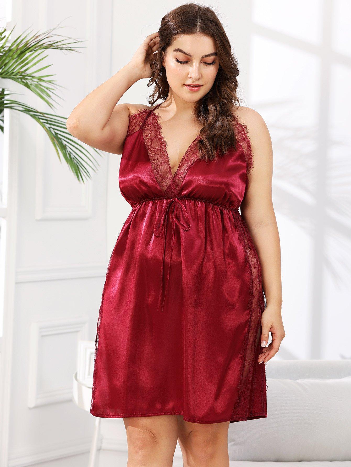 Купить Платье с открытой спиной и кружевами, Franziska, SheIn
